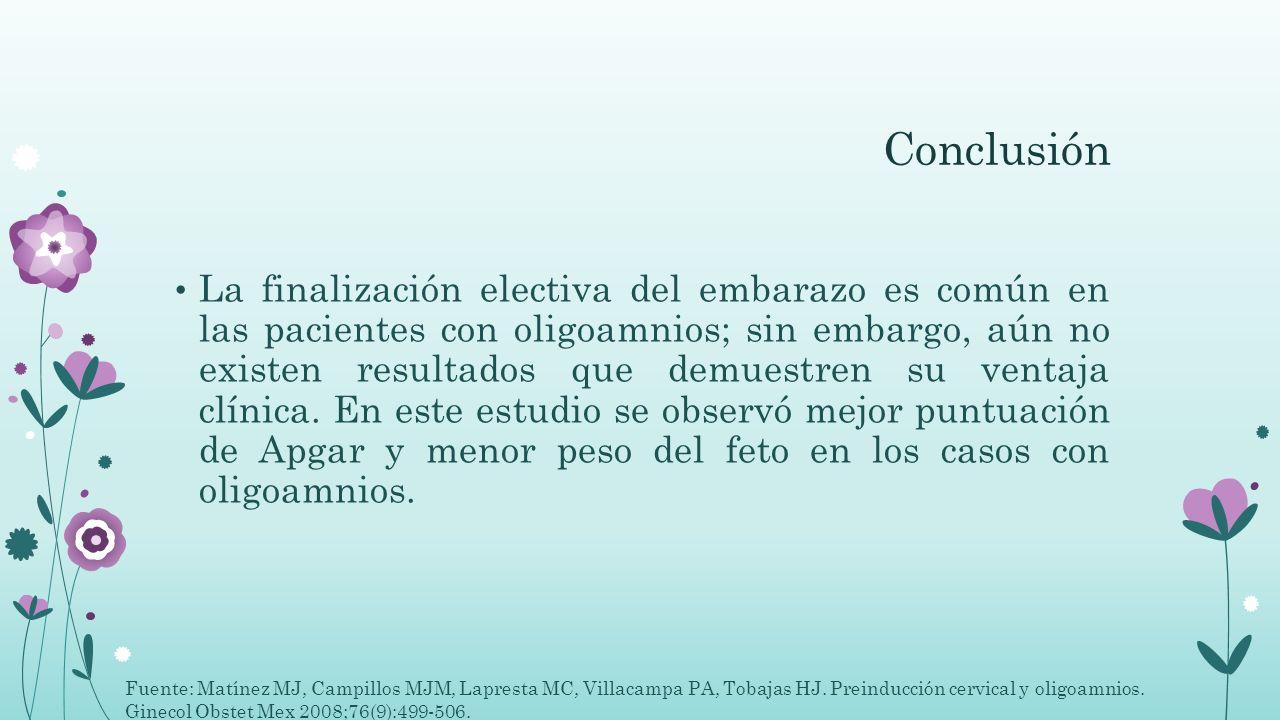 Conclusión La finalización electiva del embarazo es común en las pacientes con oligoamnios; sin embargo, aún no existen resultados que demuestren su v