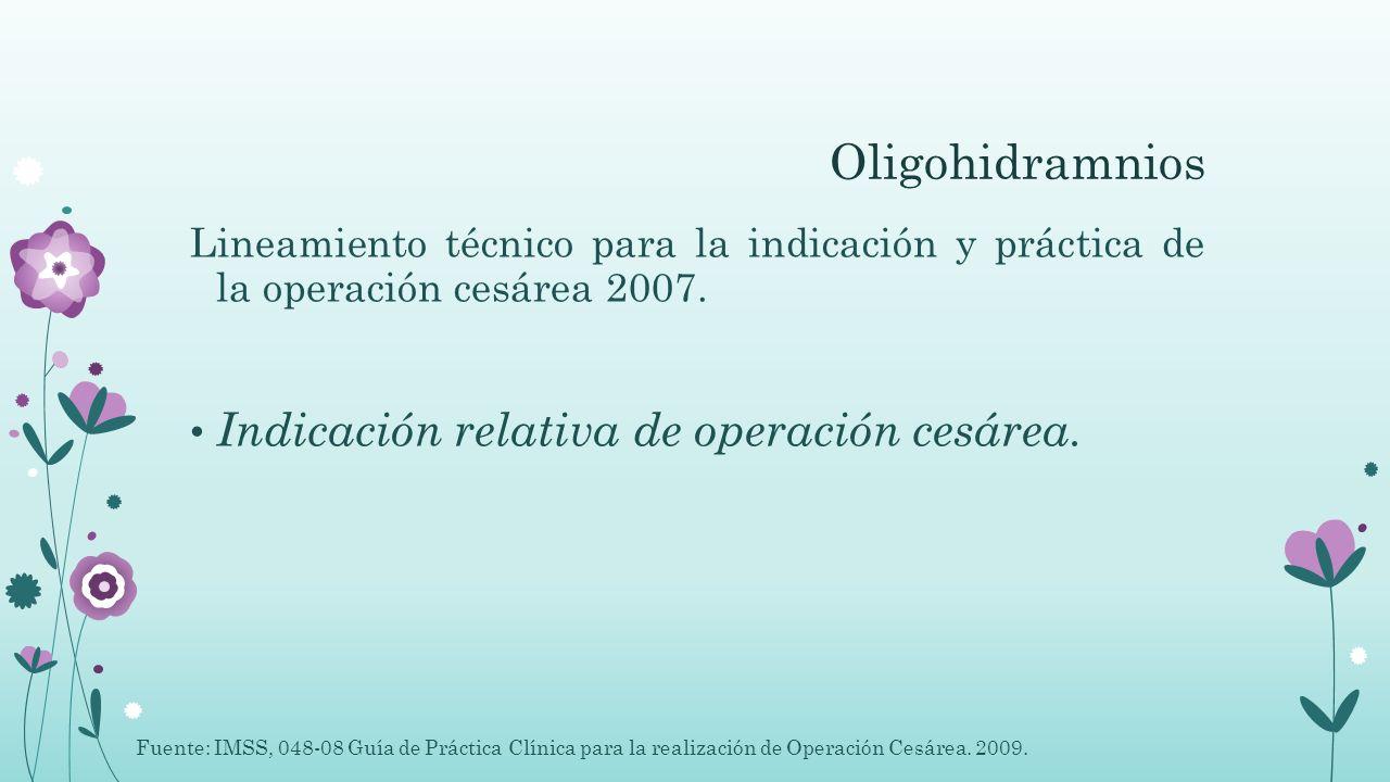 Oligohidramnios Lineamiento técnico para la indicación y práctica de la operación cesárea 2007. Indicación relativa de operación cesárea. Fuente: IMSS