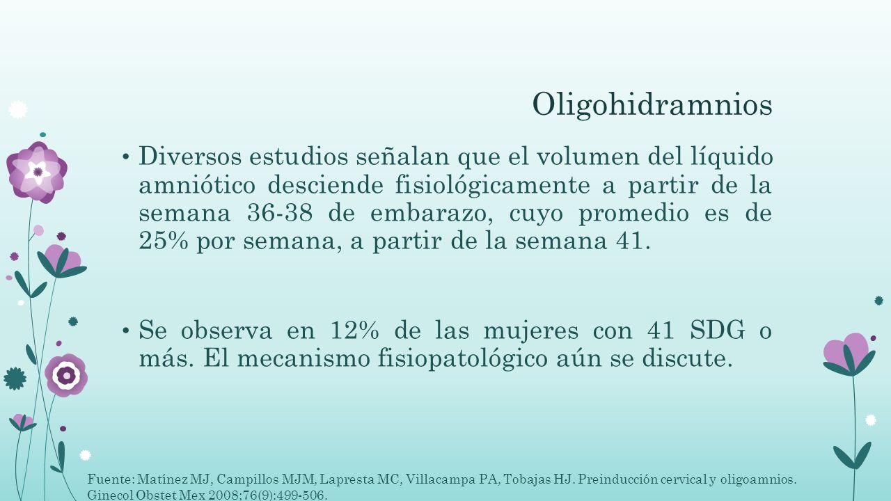 Oligohidramnios Diversos estudios señalan que el volumen del líquido amniótico desciende fisiológicamente a partir de la semana 36-38 de embarazo, cuy