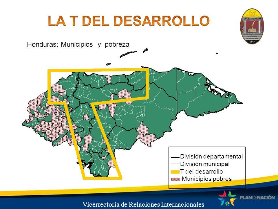 Vicerrectoría de Relaciones Internacionales Honduras: Municipios y pobreza División departamental División municipal T del desarrollo Municipios pobre