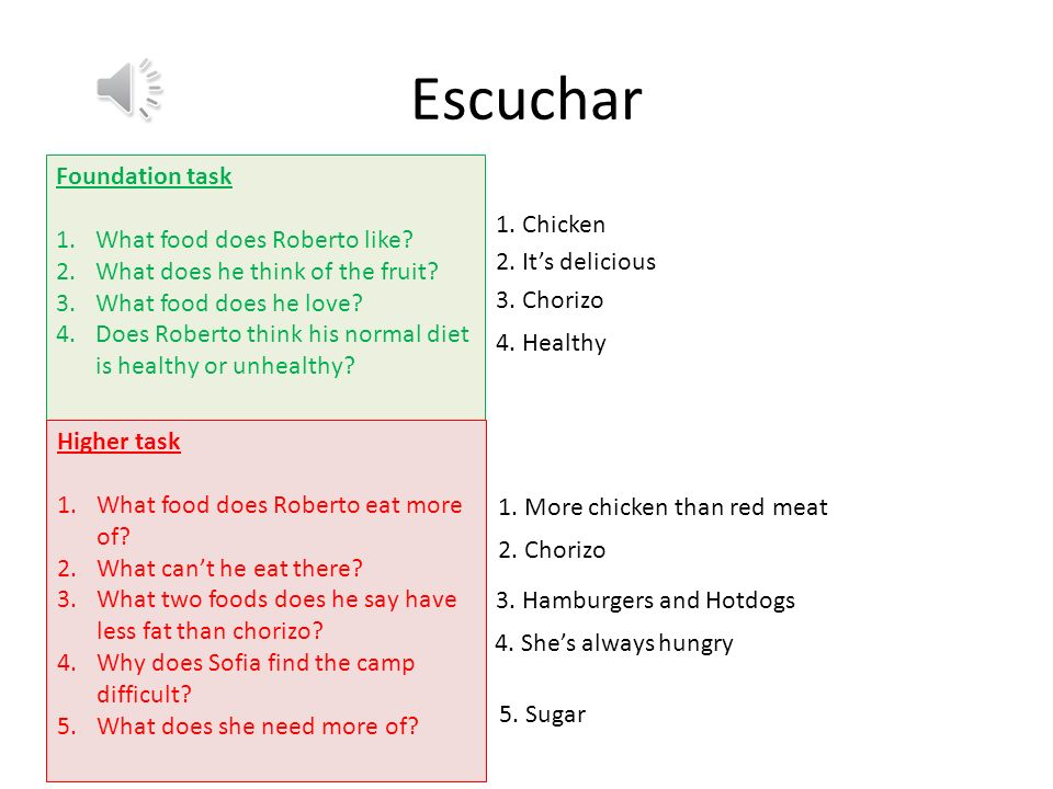 Escuchar Foundation task 1.What food does Roberto like.