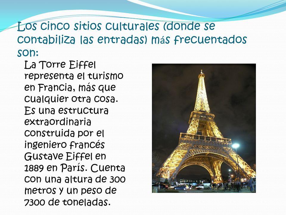 Los cinco sitios culturales (donde se contabiliza las entradas) m á s frecuentados son: La Torre Eiffel representa el turismo en Francia, más que cual