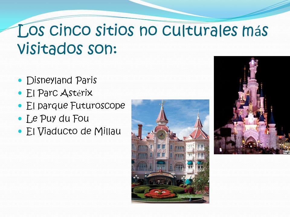 Los cinco sitios no culturales m á s visitados son: Disneyland Paris El Parc Ast é rix El parque Futuroscope Le Puy du Fou El Viaducto de Millau