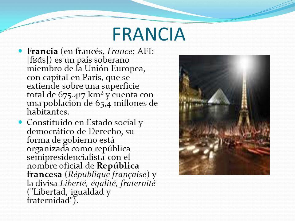 FRANCIA Francia (en francés, France; AFI: [f ʁɑ ̃s]) es un país soberano miembro de la Unión Europea, con capital en París, que se extiende sobre una