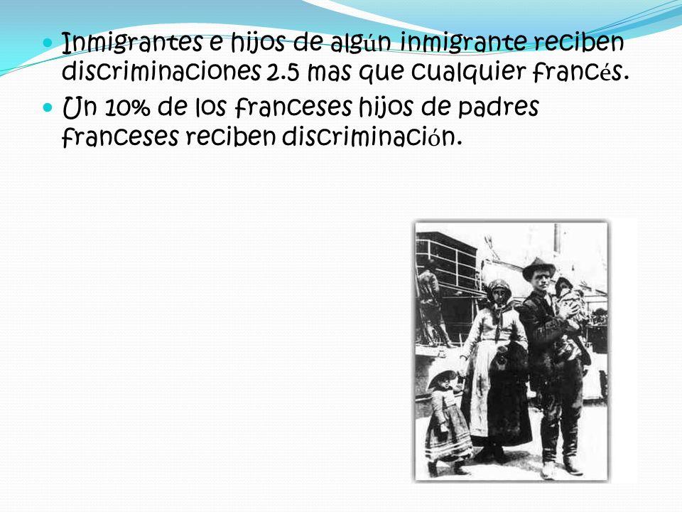 Inmigrantes e hijos de alg ú n inmigrante reciben discriminaciones 2.5 mas que cualquier franc é s. Un 10% de los franceses hijos de padres franceses