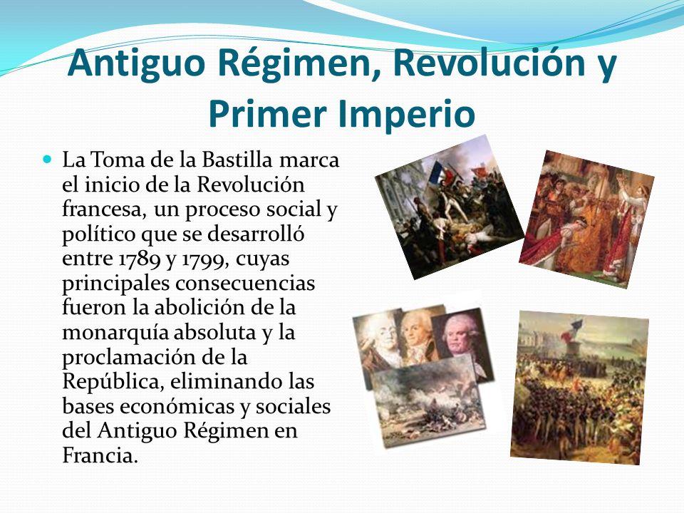 Antiguo Régimen, Revolución y Primer Imperio La Toma de la Bastilla marca el inicio de la Revolución francesa, un proceso social y político que se des
