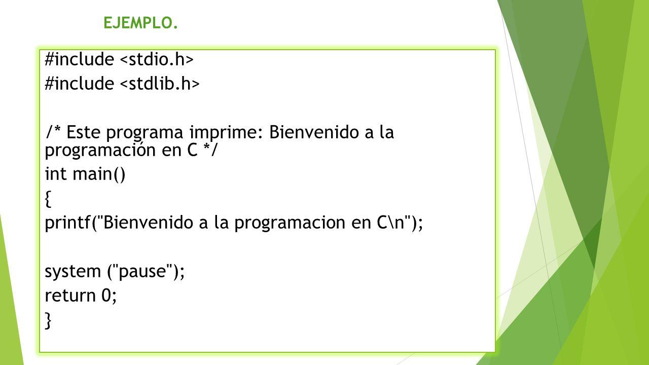 #include int num1, num2, suma; int main() { system ( color 27 ); system ( title SUMA DE 2 NUMEROS ); printf( \t \t SUMA DE DOS NUMEROS \n ); printf( Ingrese el primer numero \n ); scanf_s ( %d , &num1); printf( Ingrese el segundo numero \n ); scanf_s ( %d , &num2); printf( La Suma de los numeros es %d \n , suma); system ( pause ); return 0; } EJEMPLO.