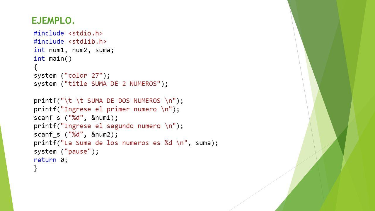 #include int num1, num2, suma; int main() { system (
