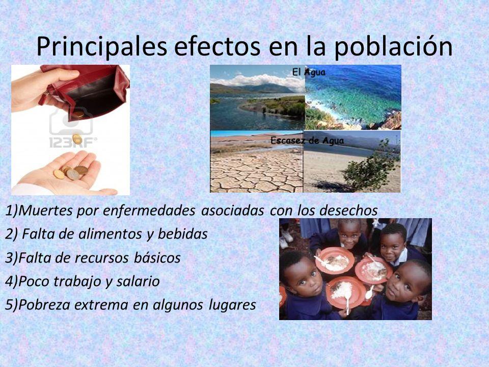 Principales efectos en la población 1)Muertes por enfermedades asociadas con los desechos 2) Falta de alimentos y bebidas 3)Falta de recursos básicos