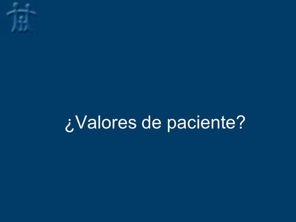 ¿Valores de paciente?