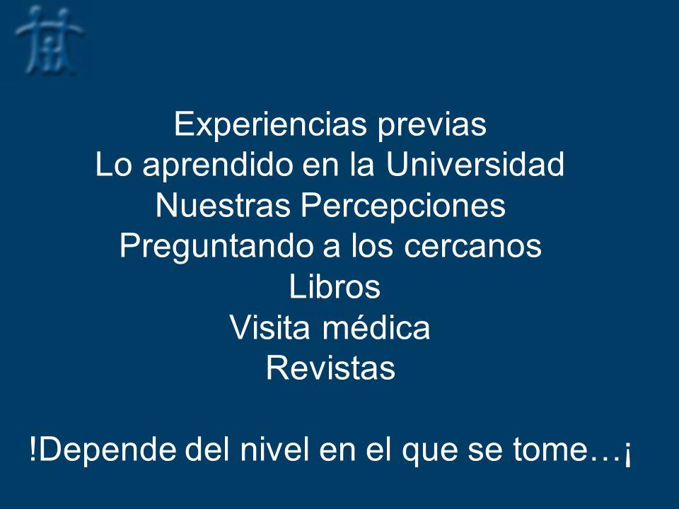 Experiencias previas Lo aprendido en la Universidad Nuestras Percepciones Preguntando a los cercanos Libros Visita médica Revistas !Depende del nivel