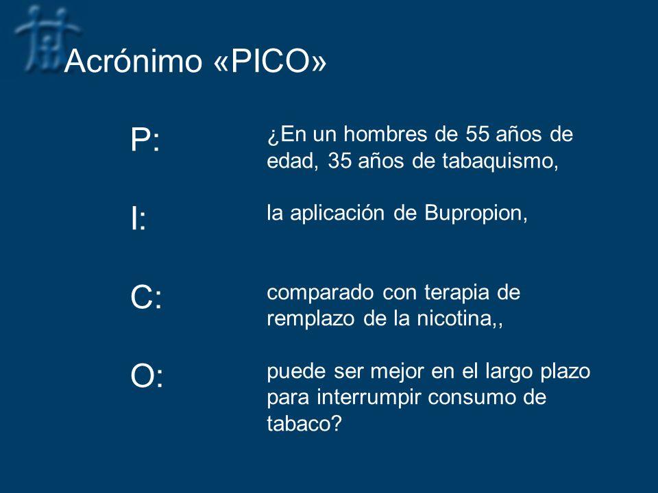Acrónimo «PICO» P: I: C: O: ¿En un hombres de 55 años de edad, 35 años de tabaquismo, la aplicación de Bupropion, comparado con terapia de remplazo de
