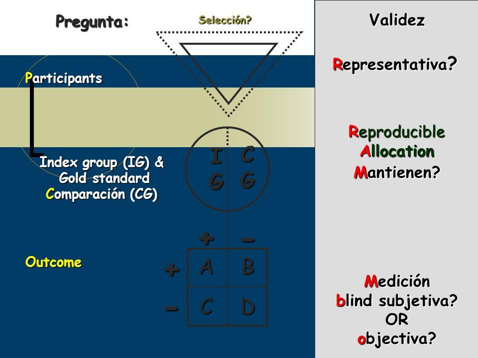 Participants Index group (IG) & Gold standard Comparación (CG) Outcome IGIGIGIG CGCGCGCG + - DC +- BA Representativa ? Selección?Validez Reproducible