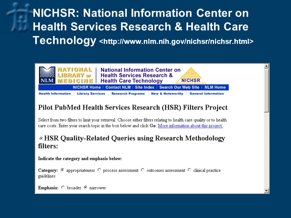 NICHSR: National Information Center on Health Services Research & Health Care Technology