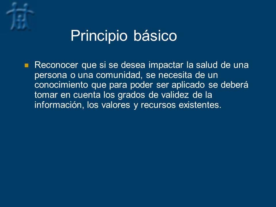Principio básico Reconocer que si se desea impactar la salud de una persona o una comunidad, se necesita de un conocimiento que para poder ser aplicad