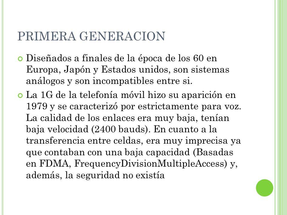 S ISTEMAS DE PRIMERA GENERACIÓN TACS (Total Access CommunicationsSystem) Reino unido AMPS (AdvanceMobile PhoneService)Americano NMTS (NordicAdvanceMobile TelephoneSystem) Países Escandinavos NAMTS (NipponAdvanceMobile TelephoneService) Japón