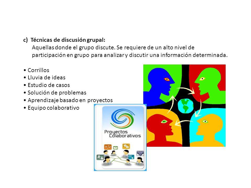 c) Técnicas de discusión grupal: Aquellas donde el grupo discute. Se requiere de un alto nivel de participación en grupo para analizar y discutir una