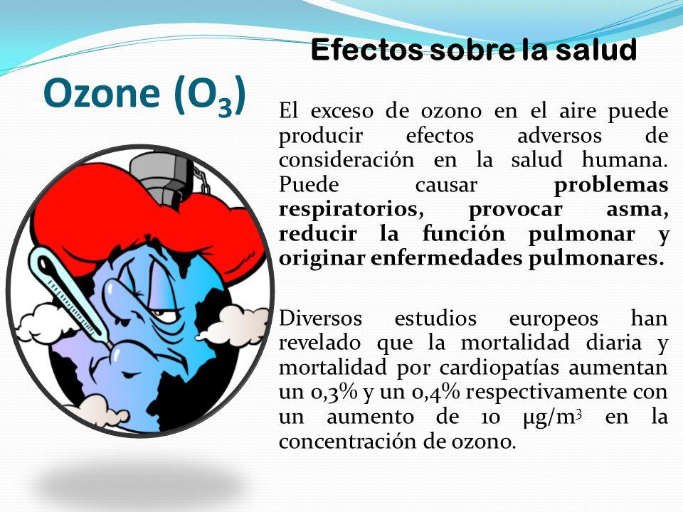 Ozone (O 3 ) Efectos sobre la salud El exceso de ozono en el aire puede producir efectos adversos de consideración en la salud humana. Puede causar pr