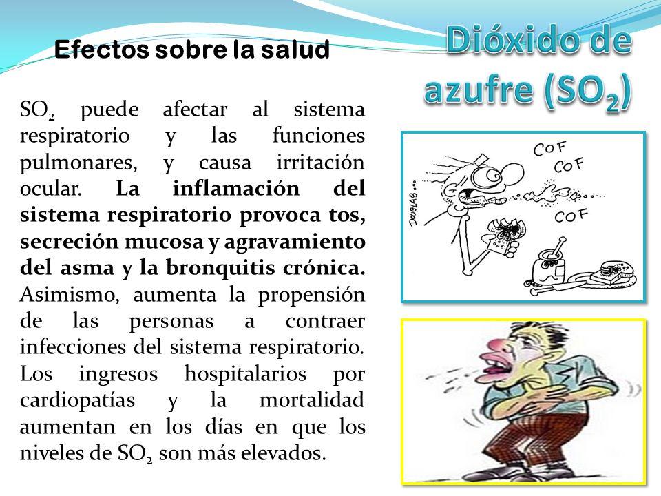Efectos sobre la salud SO 2 puede afectar al sistema respiratorio y las funciones pulmonares, y causa irritación ocular.