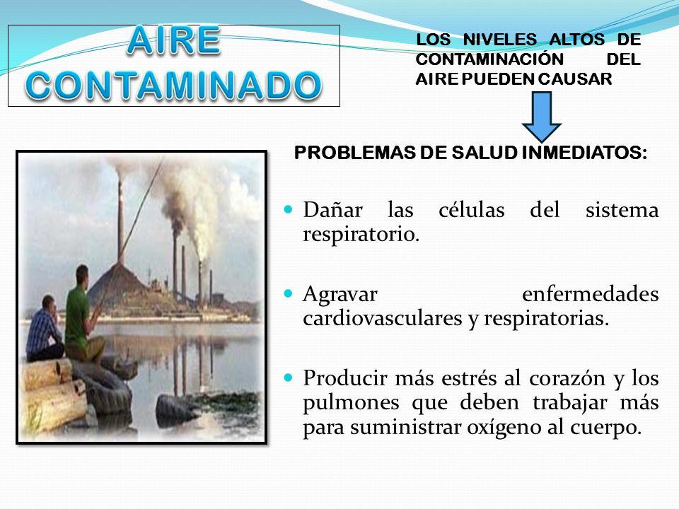 LOS NIVELES ALTOS DE CONTAMINACIÓN DEL AIRE PUEDEN CAUSAR PROBLEMAS DE SALUD INMEDIATOS: Dañar las células del sistema respiratorio. Agravar enfermeda