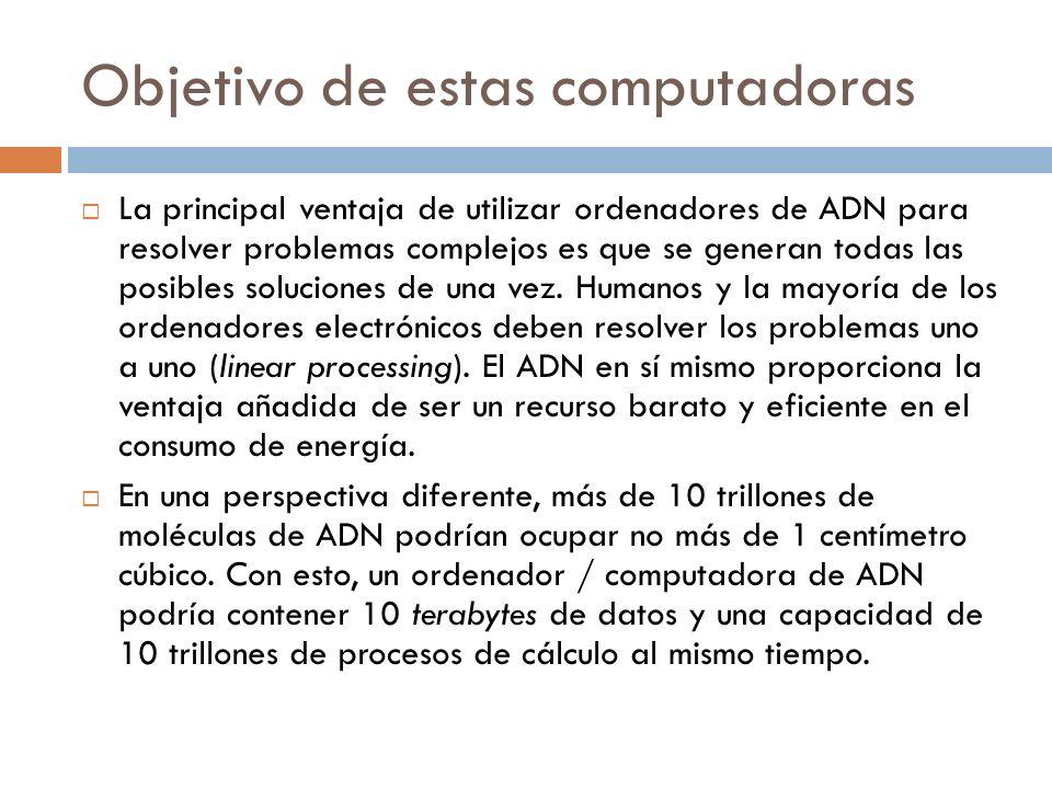 Objetivo de estas computadoras La principal ventaja de utilizar ordenadores de ADN para resolver problemas complejos es que se generan todas las posibles soluciones de una vez.