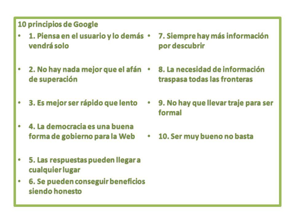 10 principios de Google 1. Piensa en el usuario y lo demás vendrá solo 1. Piensa en el usuario y lo demás vendrá solo 2. No hay nada mejor que el afán