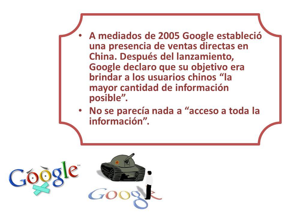 A mediados de 2005 Google estableció una presencia de ventas directas en China. Después del lanzamiento, Google declaro que su objetivo era brindar a