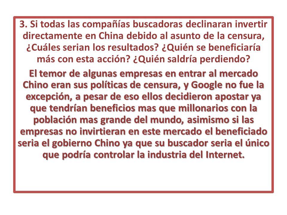 3. Si todas las compañías buscadoras declinaran invertir directamente en China debido al asunto de la censura, ¿Cuáles serian los resultados? ¿Quién s
