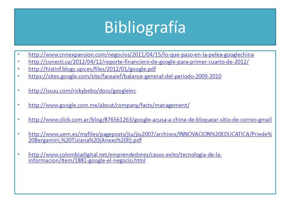 Bibliografía http://www.cnnexpansion.com/negocios/2011/04/15/lo-que-paso-en-la-pelea-googlechina http://conecti.ca/2012/04/12/reporte-financiero-de-go