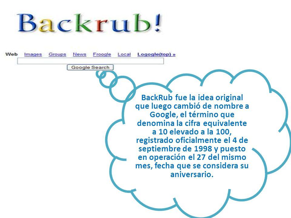 BackRub fue la idea original que luego cambió de nombre a Google, el término que denomina la cifra equivalente a 10 elevado a la 100, registrado ofici