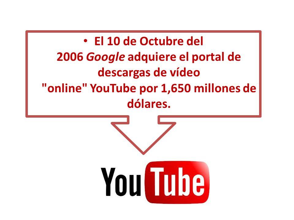 El 10 de Octubre del 2006 Google adquiere el portal de descargas de vídeo