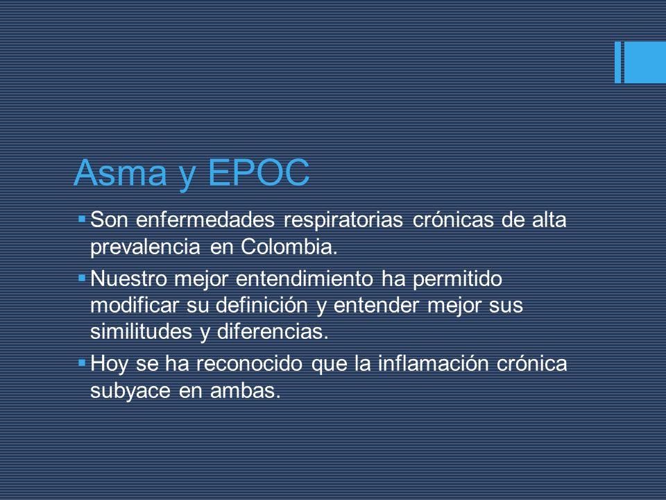 Asma y EPOC Son enfermedades respiratorias crónicas de alta prevalencia en Colombia. Nuestro mejor entendimiento ha permitido modificar su definición