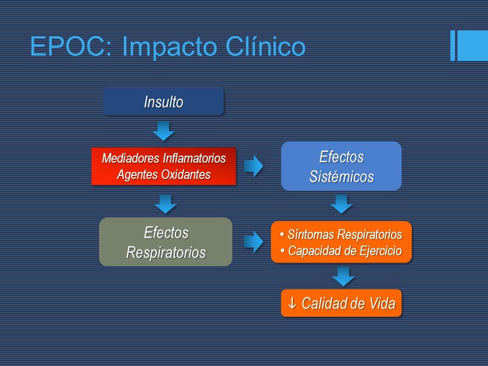 InsultoInsulto Mediadores Inflamatorios Agentes Oxidantes Mediadores Inflamatorios Agentes Oxidantes Efectos Respiratorios Efectos Sistémicos Síntomas