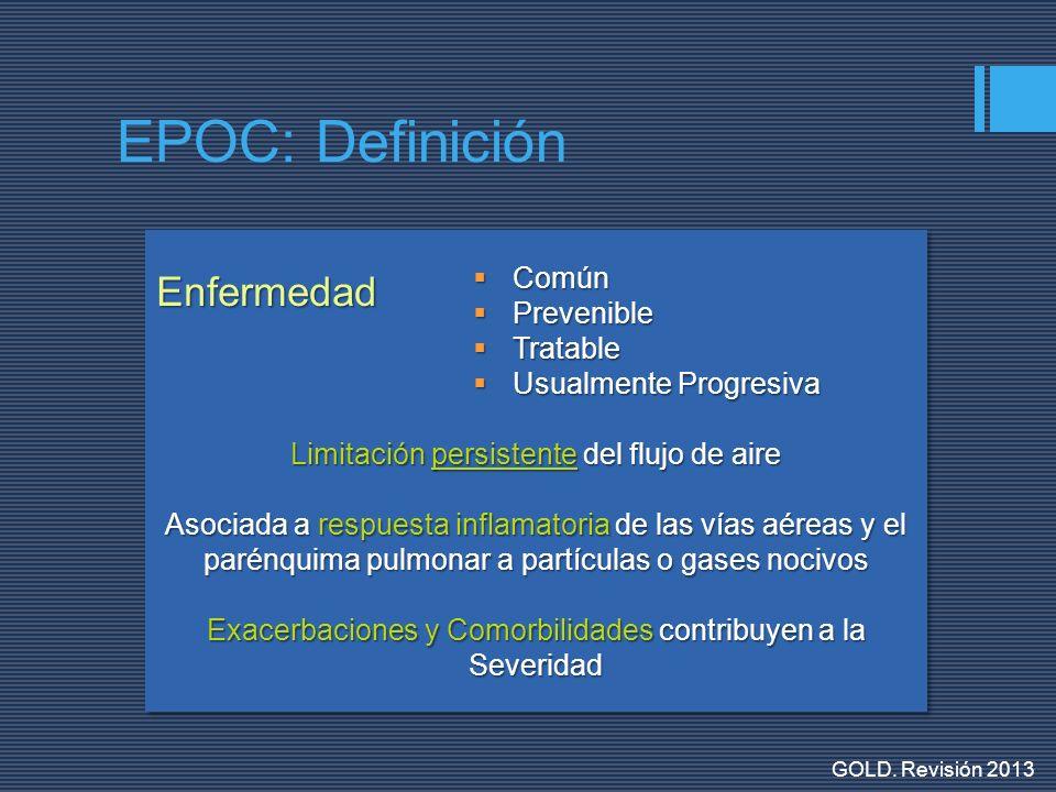 Humo de Cigarrillo Químicos Ocupacionales Polución Externa Polución Interna EPOCEPOC CompromisoSistémicoCompromisoSistémico RespuestaInflamatoriaRespuestaInflamatoria EPOC: Definición