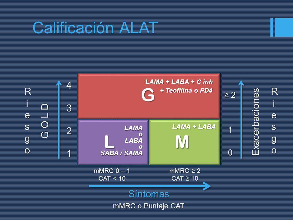 LM G G O L D 1 2 34 Exacerbaciones0 1 2 mMRC o Puntaje CAT mMRC 0 – 1 CAT < 10 mMRC 2 CAT 10 RiesgoRiesgoRiesgoRiesgo RiesgoRiesgoRiesgoRiesgoSíntomas