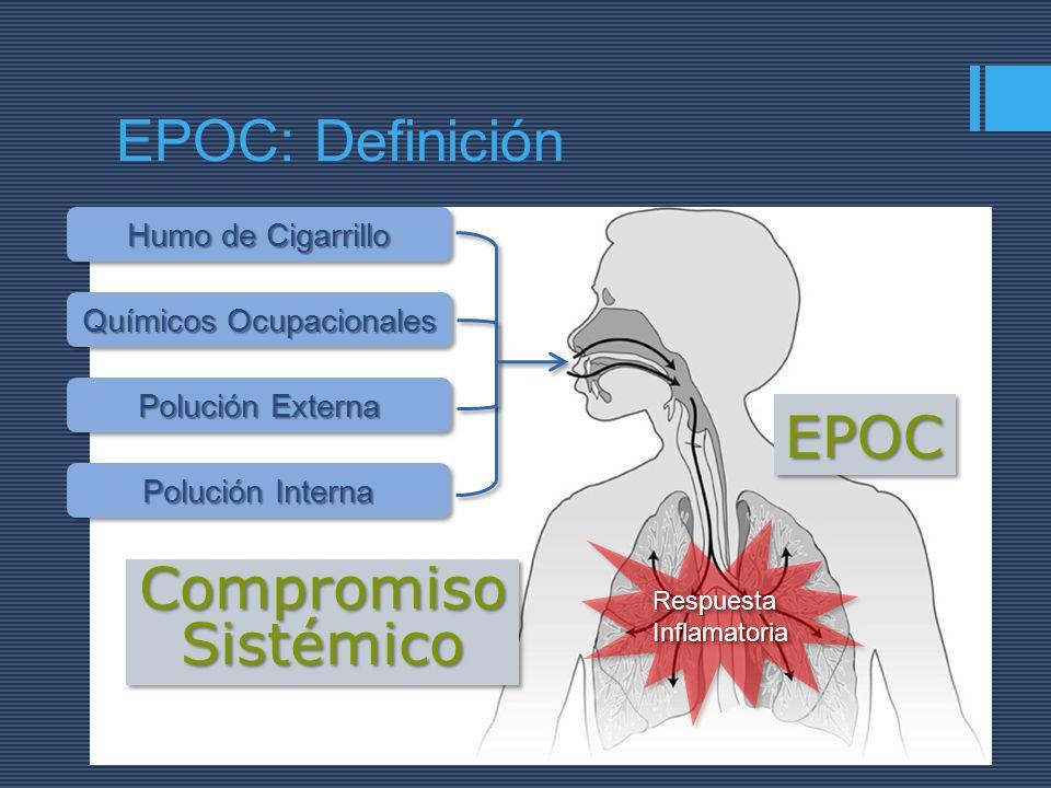 Humo de Cigarrillo Químicos Ocupacionales Polución Externa Polución Interna EPOCEPOC CompromisoSistémicoCompromisoSistémico RespuestaInflamatoriaRespu