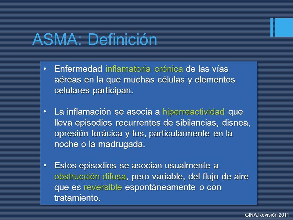 ASMA: Definición Enfermedad inflamatoria crónica de las vías aéreas en la que muchas células y elementos celulares participan.Enfermedad inflamatoria
