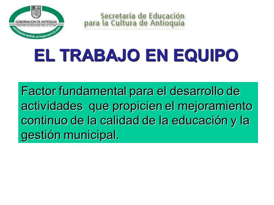 EL TRABAJO EN EQUIPO Factor fundamental para el desarrollo de actividades que propicien el mejoramiento continuo de la calidad de la educación y la gestión municipal.