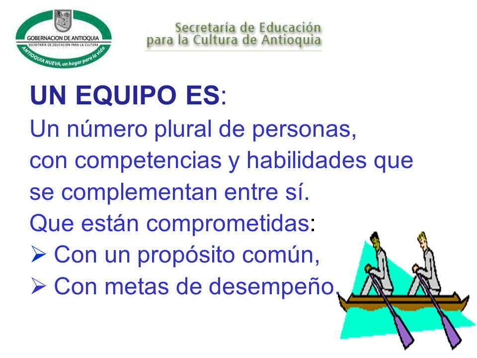 UN EQUIPO ES: Un número plural de personas, con competencias y habilidades que se complementan entre sí.