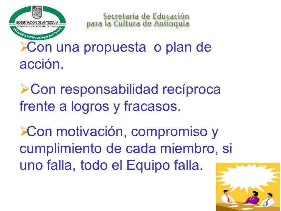 Con una propuesta o plan de acción.Con responsabilidad recíproca frente a logros y fracasos.
