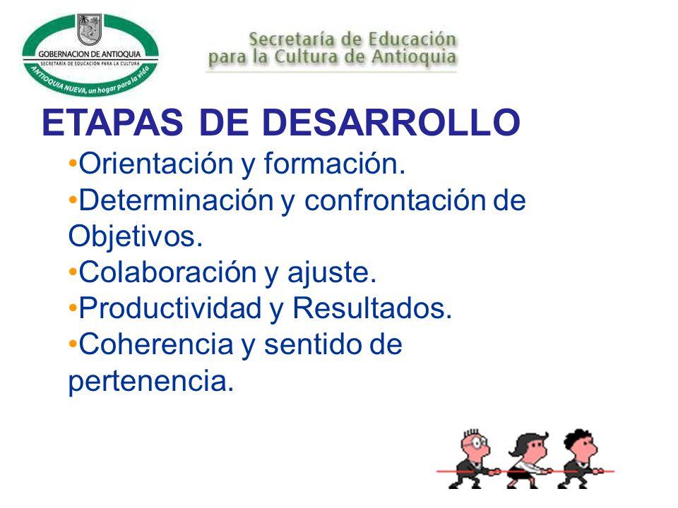 ETAPAS DE DESARROLLO Orientación y formación.Determinación y confrontación de Objetivos.