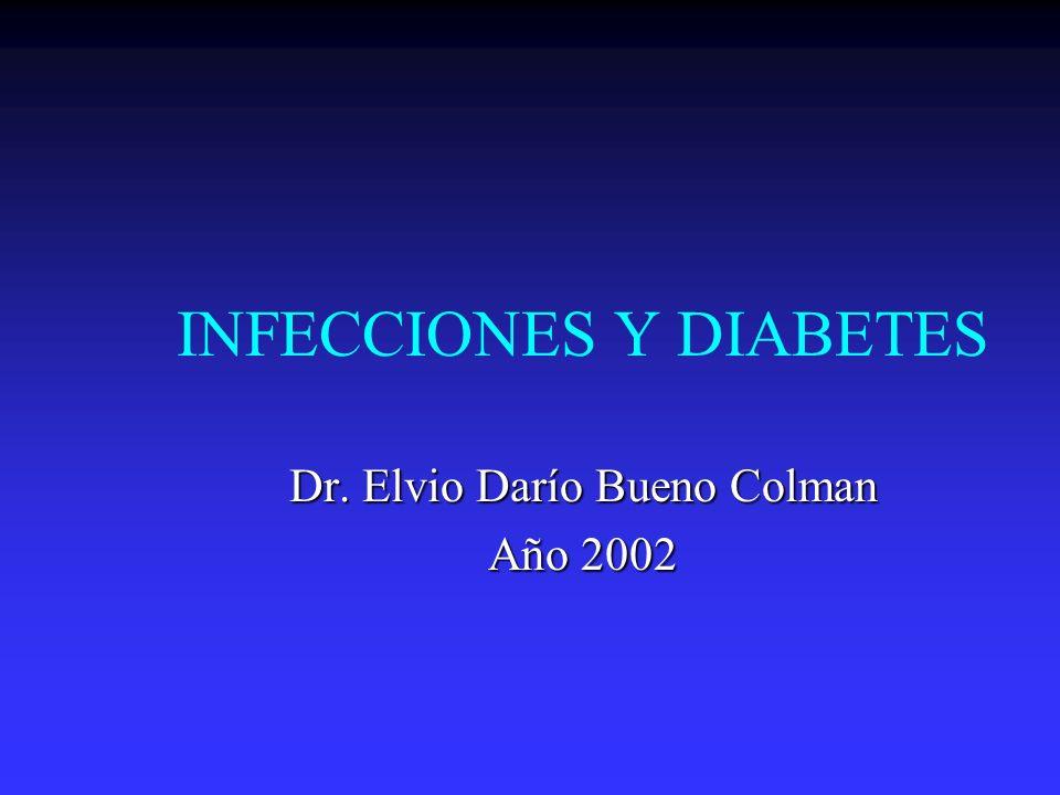 Infecciones y Diabetes La asociación entre diabetes y aumento de la incidencia de infección no esta soportada por fuerte evidencia.