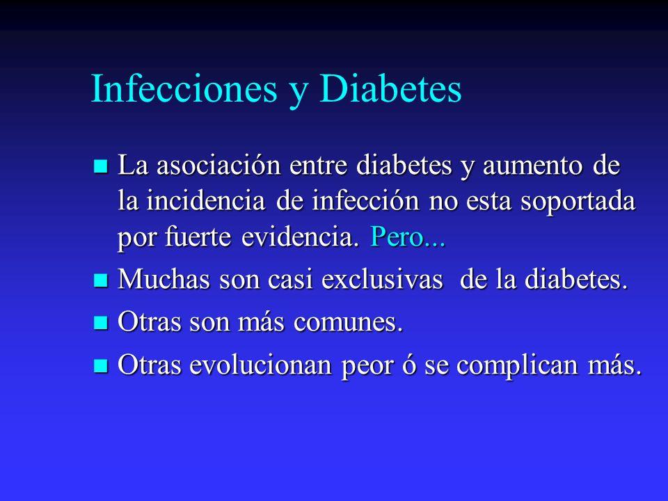 Infecciones y Diabetes La asociación entre diabetes y aumento de la incidencia de infección no esta soportada por fuerte evidencia. Pero... La asociac