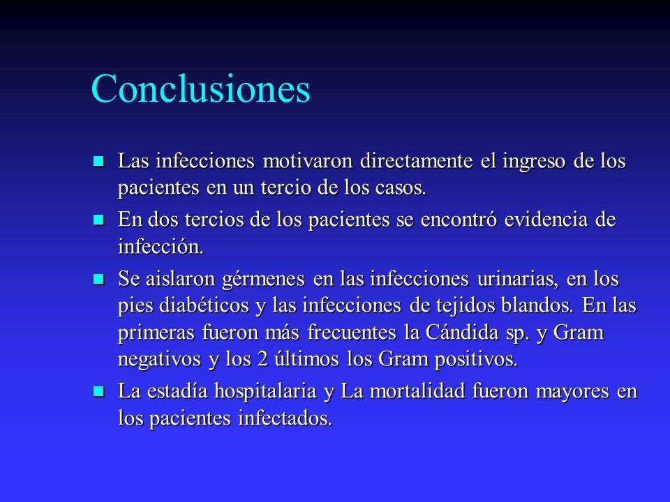 Conclusiones Las infecciones motivaron directamente el ingreso de los pacientes en un tercio de los casos. Las infecciones motivaron directamente el i