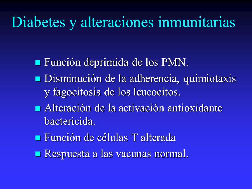 Diabetes y alteraciones inmunitarias Función deprimida de los PMN. Función deprimida de los PMN. Disminución de la adherencia, quimiotaxis y fagocitos