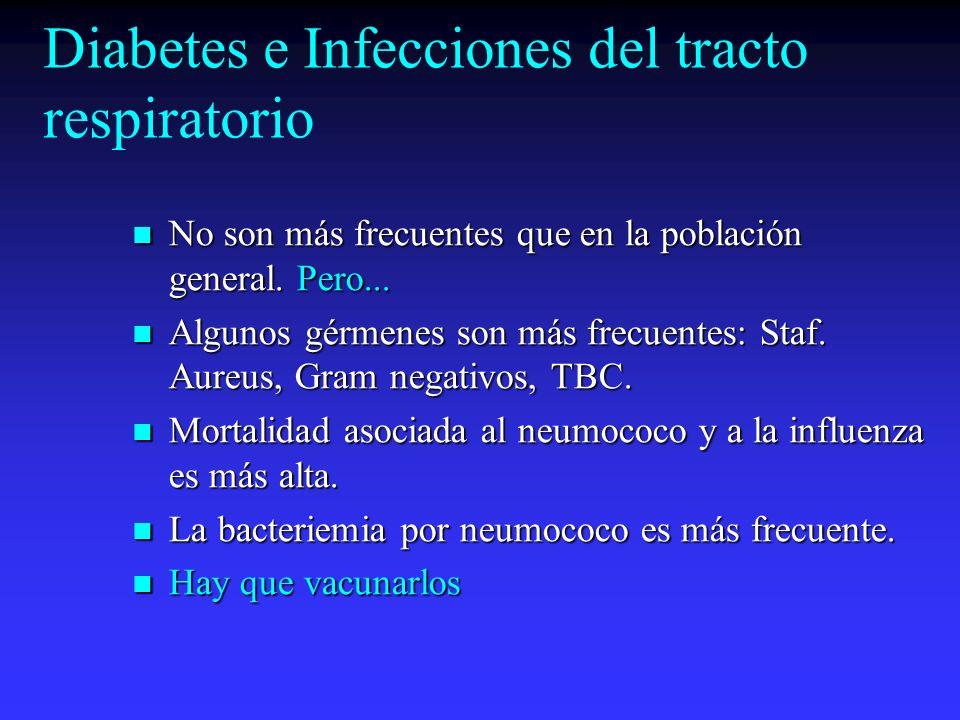 Diabetes e Infecciones del tracto urinario Mayor incidencia que en población general( 2 a 4 veces más).