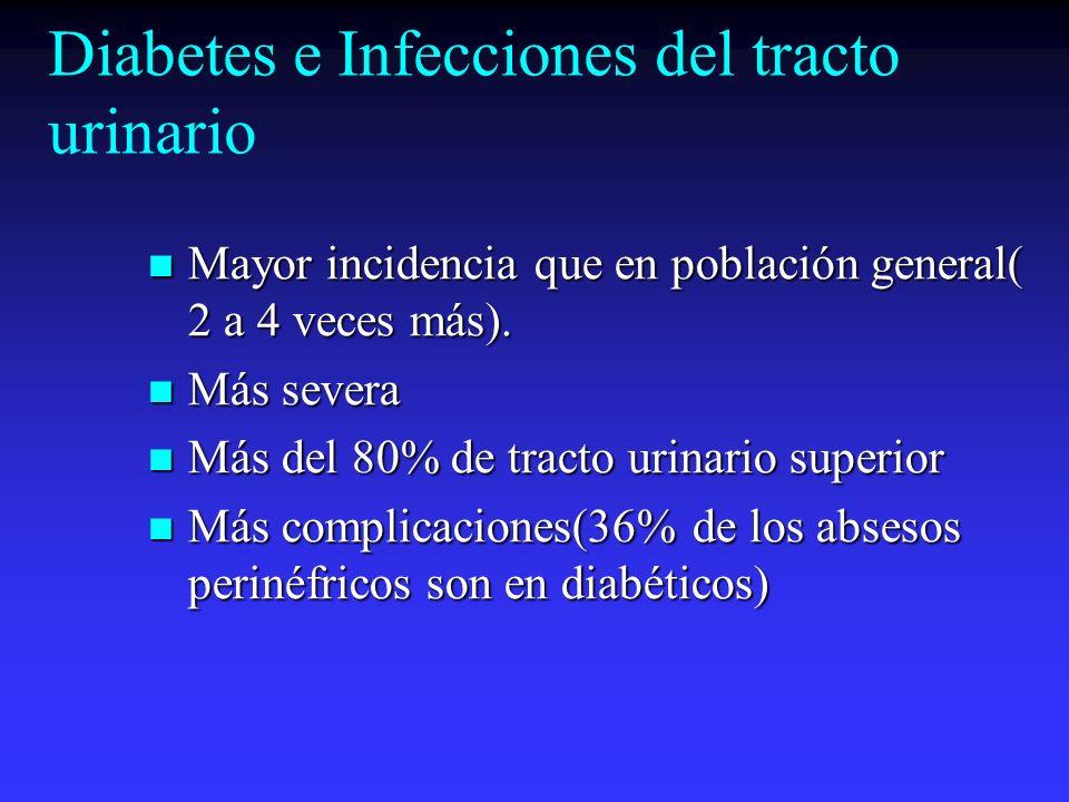Diabetes e Infecciones del tracto urinario Mayor incidencia que en población general( 2 a 4 veces más). Mayor incidencia que en población general( 2 a