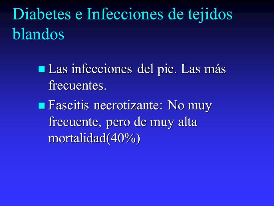Diabetes e Infecciones de tejidos blandos Las infecciones del pie. Las más frecuentes. Las infecciones del pie. Las más frecuentes. Fascitis necrotiza
