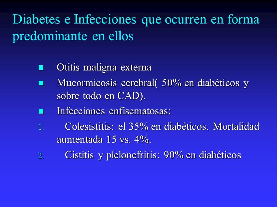 Diabetes e Infecciones que ocurren en forma predominante en ellos Otitis maligna externa Otitis maligna externa Mucormicosis cerebral( 50% en diabétic