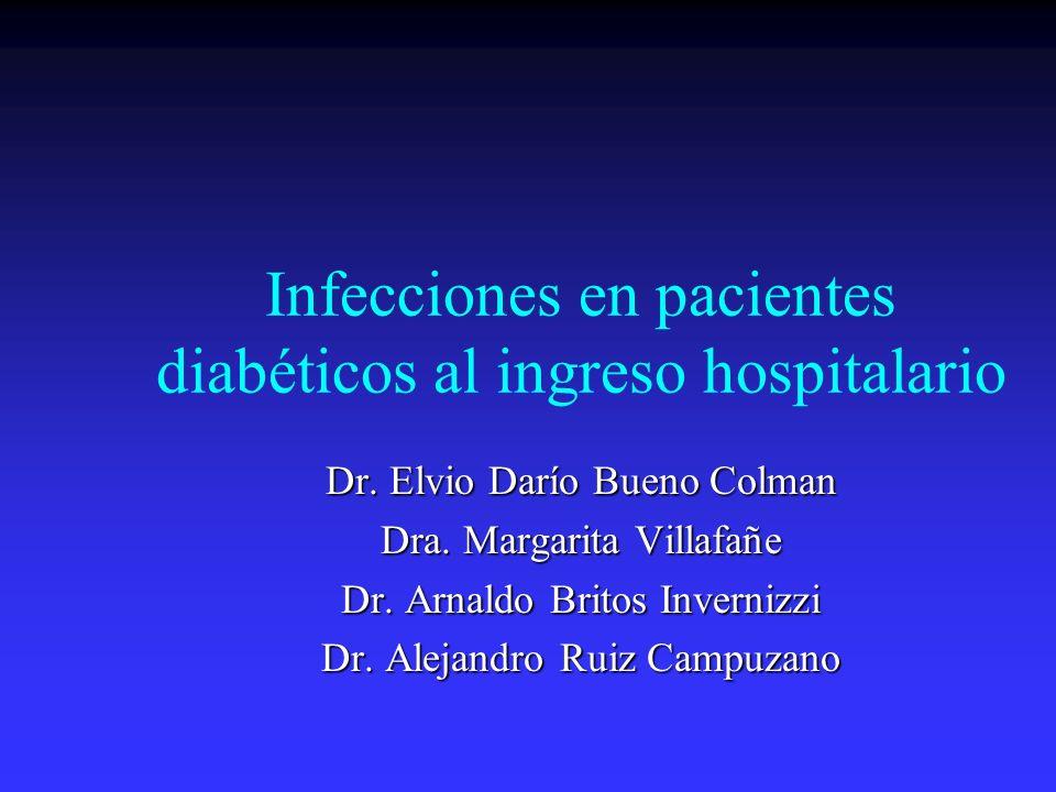 Infecciones en pacientes diabéticos al ingreso hospitalario Dr. Elvio Darío Bueno Colman Dra. Margarita Villafañe Dr. Arnaldo Britos Invernizzi Dr. Al